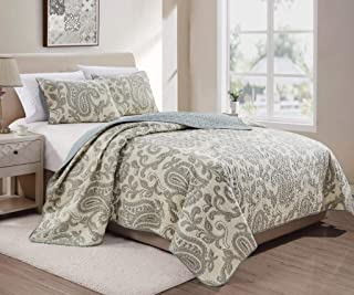 Baker 3-Piece Paisley Taupe Cream Evergreen Fog Printed Motif Pre-Washed Microfiber Quilt Set, King Size