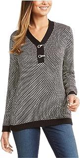 KAREN SCOTT Womens Black Patterned Long Sleeve V Neck Blouse Sweater Petites US Size: PP