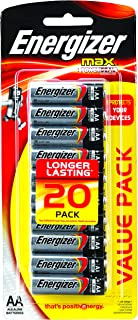 Energizer AA Batteries, MAX Alkaline, 20 Pack