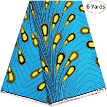 Dexuelan 6 Yards Ankara Print Fabric African Wax Print Fabric with Feather Designs for Sewing Dress Clothing Designs (Blue and Yellow)