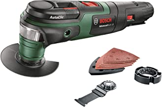 Bosch Cordless Oscillating Multi Tool AdvancedMulti 18 (Without Battery, 18 Volt System, 2 x Blades, Sanding Set and Depth...