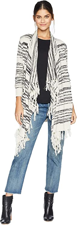 Linen Sweater Long Sleeve Fringe Trim Drape Front Cardigan