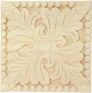 REFURBISHHOUSE Apliques de Madera Natural Calcomanias de Talla de Flor Cuadrada Molduras de Madera Decorativas para Puerta del gabinete Artesania de Decoracion de Muebles 8x8cm