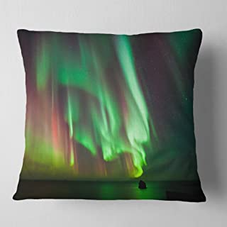 Designart Green Northern Lights Aurora' Abstract Throw Cushion Pillow Cover for Living Room, Sofa 18 in. x 18 in