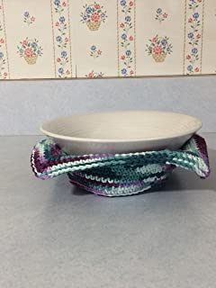 Microwave Bowl Cozy, Green and Purple Bowl Cozy, Microwave Bowl Cozy, Crochet Bowl Cozy