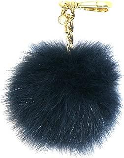 Medium Fur Pom Pom Charm Keychain FOB ( Navy)