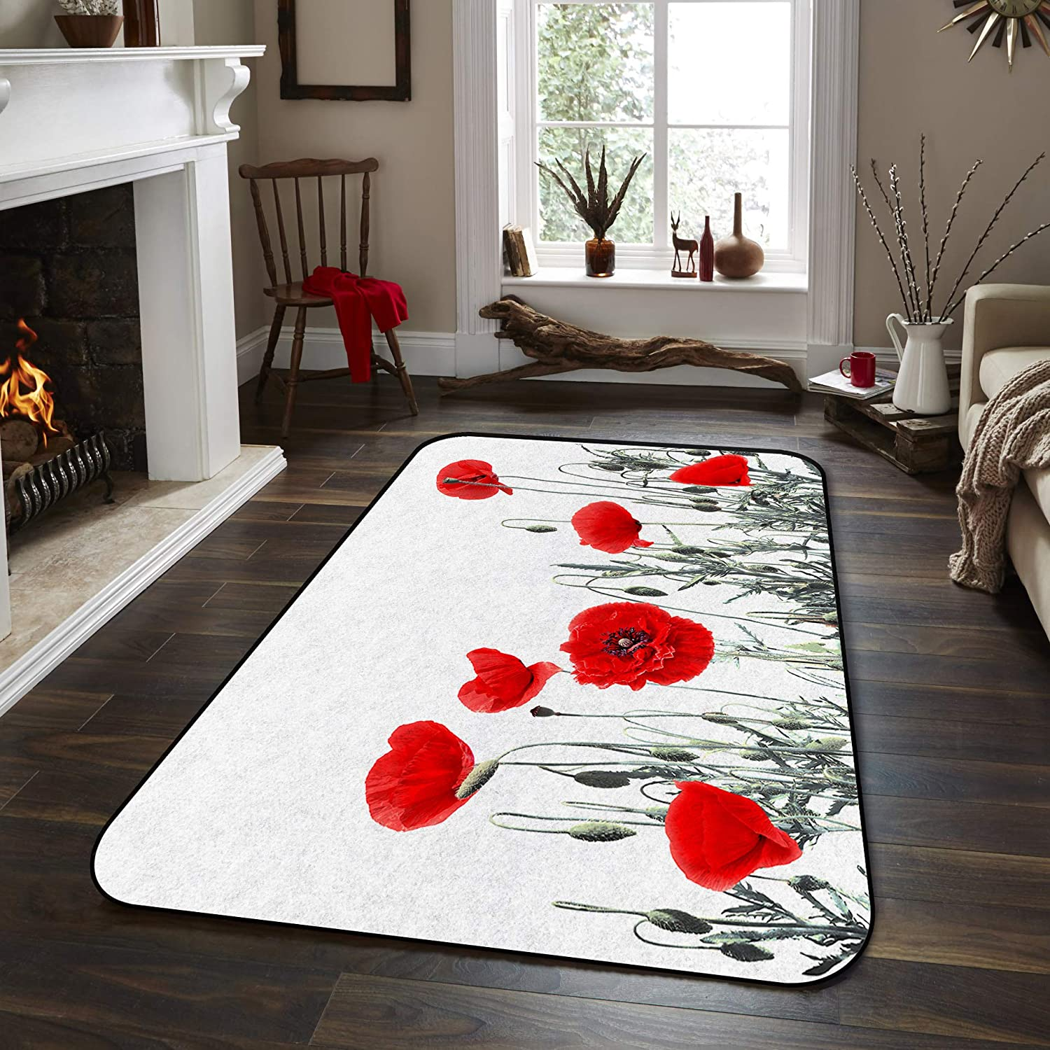 Fresno Mall Soft Area Rugs for Bedroom Poppies in Blooms Super sale Wildflowers Waterco