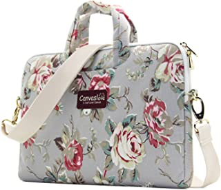 Canvaslove Grey Rose Pattern 15 inch Canvas Waterproof Laptop Shoulder Messenger Bag for 14 Inch to15.6 inch Laptop