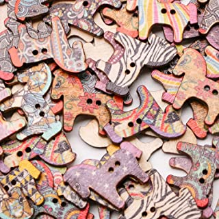 JETEHO 100Pcs Wood Buttons Colorful Horse Shape 2 Holes Button for Sewing and Crafting DIY