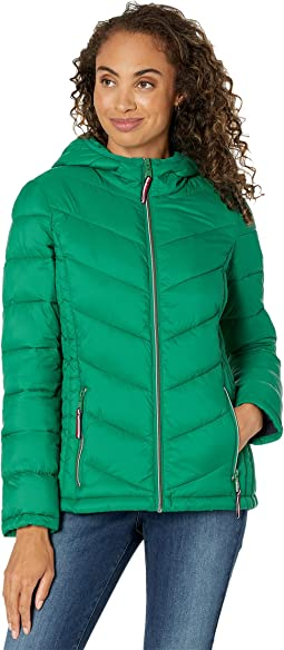 Short Quilted Hooded Packable Jacket