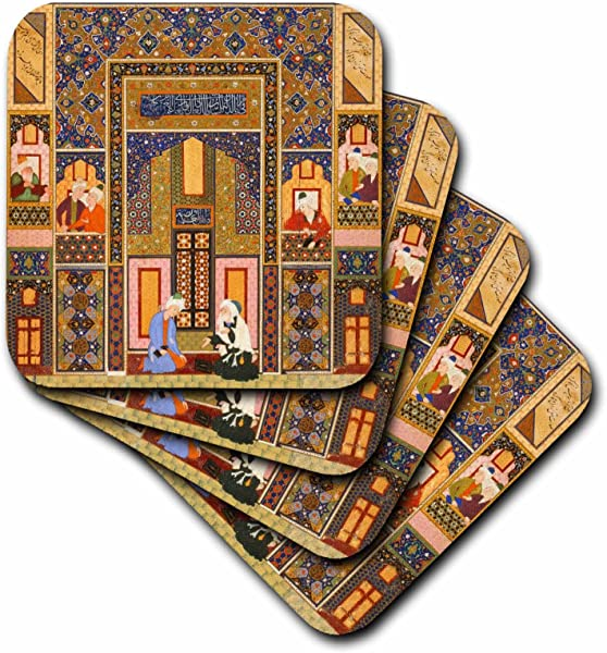 3dRose The Meeting Of The Theologians Islamic Persian Art 1540 1550 Ad By Abd Allah Musawwir Arabian Soft Coasters Set Of 8 CST 162527 2