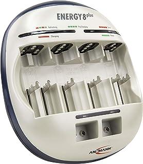 ANSMANN Energy 8 Plus Akku Ladegerät   Ladestation für AAA, AA, C, D & 9V E Block   Schnellladegerät als Pflegestation & Kapazitätstester mit Refresh Funktion   Batterieladegerät für NiMH Akkus