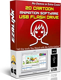 Cartoon Animation Software 2D Video Creator Cartoonizer Beginner Easy & Professional Editing Windows PC Mac Linux App Synfig Studio 16Gb USB