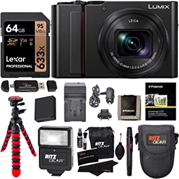 Panasonic Lumix DC-ZS200S Digital Camera (Black) with 64GB Memory Card, Tabletop Tripod, Camera Case, Flash, Cleaning Kit, Battery, Charger Kit and More