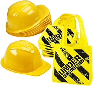 Construction Birthday Party Supplies - (24 Pack) Construction Party Hat & Mini Tote Bag Supplies - (12) Yellow Toy Hats an...