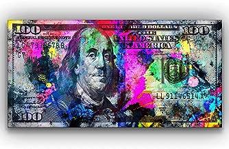 SuccessHuntersPrints 100 Dollars Bill Wall Art Canvas Print Office Decor Money Pop Art Entrepreneur Motivational 100 Bill Cash Benjamin Franklin Dollar Print Art (24