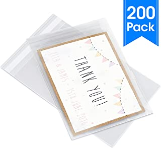 "Pack It Chic - 5"" X 7"" (200 Pack) Clear Resealable Cellophane Cello Bags - Fits 5X7 Prints, Photos, A2 A4 A6 Cards & Envelopes - Self Seal (More Sizes Available)"