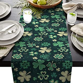 ARTSHOWING St. Patrick's Day Table Runner Party Supplies Fabric Decorations for Wedding Birthday Baby Shower 13x90inch Dreamlike Lucky Shamrock Leaves