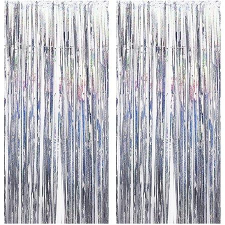Disino 2 Stk Silber Folie Fransen Vorhang 1 X 2 M Laser Metallic Tinsel Vorhänge