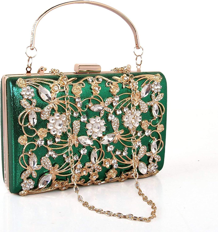 Ladies Handbag Foreign Female Bag Metal Diamond Yanbao Square Box Diamond Hand Bag Bag Bag Foreign Bride (color   Green)