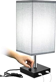 Qucover Lampe de chevet avec fonction de charge, lampe de table E27 avec connexion USB, lampe de table avec interrupteur e...