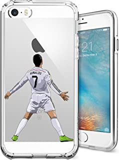 iPhone 5/5s/SE Case, Chrry Cases Ultra Slim [Crystal Clear] [Soccer Series] Cristiano Ronaldo Soft Transparent TPU Case Cover for Apple iPhone 5/5s/SE - CR7