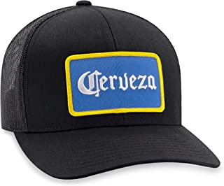 Cerveza Hat – Beer Trucker Hat Baseball Cap Snapback Golf Hat (Black)