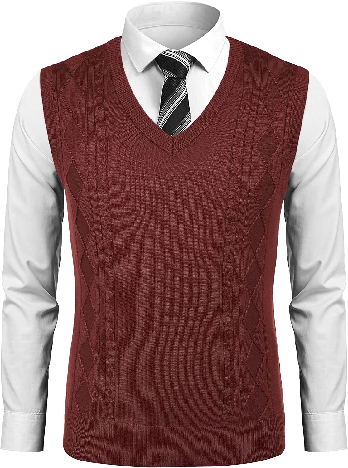 COOFANDY Men's Max 60% OFF Sweater Vests Knit Ranking integrated 1st place Sweaters Tennis Vest Cashmere