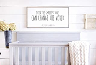 Bruyu5se Framed Wood Sign Rustic Wooden Sign Even The Smallest One Can Change The World Peter Rabbit Nursery Sign Peter Rabbit Quote 12 x 22 Inch Decorative Sign Home Decor