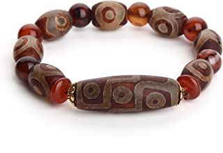 Wenmily Feng Shui Tibetan Dzi Bead Protective Amulet Bracelet, Attract Wealth and Good Luck, Deluxe Gift Box Included