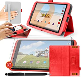 ORZLY - TESCO HUDL 2 Tablet Case with Built-In Hand Strap & Integrated Stand - RED Case / Cover / Skin with Built-In PropUp Stand (Dual Angle for Viewing & Typing Positions) - designed by ORZLY exclusively for Tesco Hudl 8.3 inch Tablet (Tesco's 2nd Tablet - Released in 2014) Case includes BONUS: ORZLY Stylus Pen & 2x Sceen Protectors