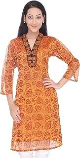 Women's Handloom Maheshwari Cotton-Silk Hand Block Printed Yellow Kurti