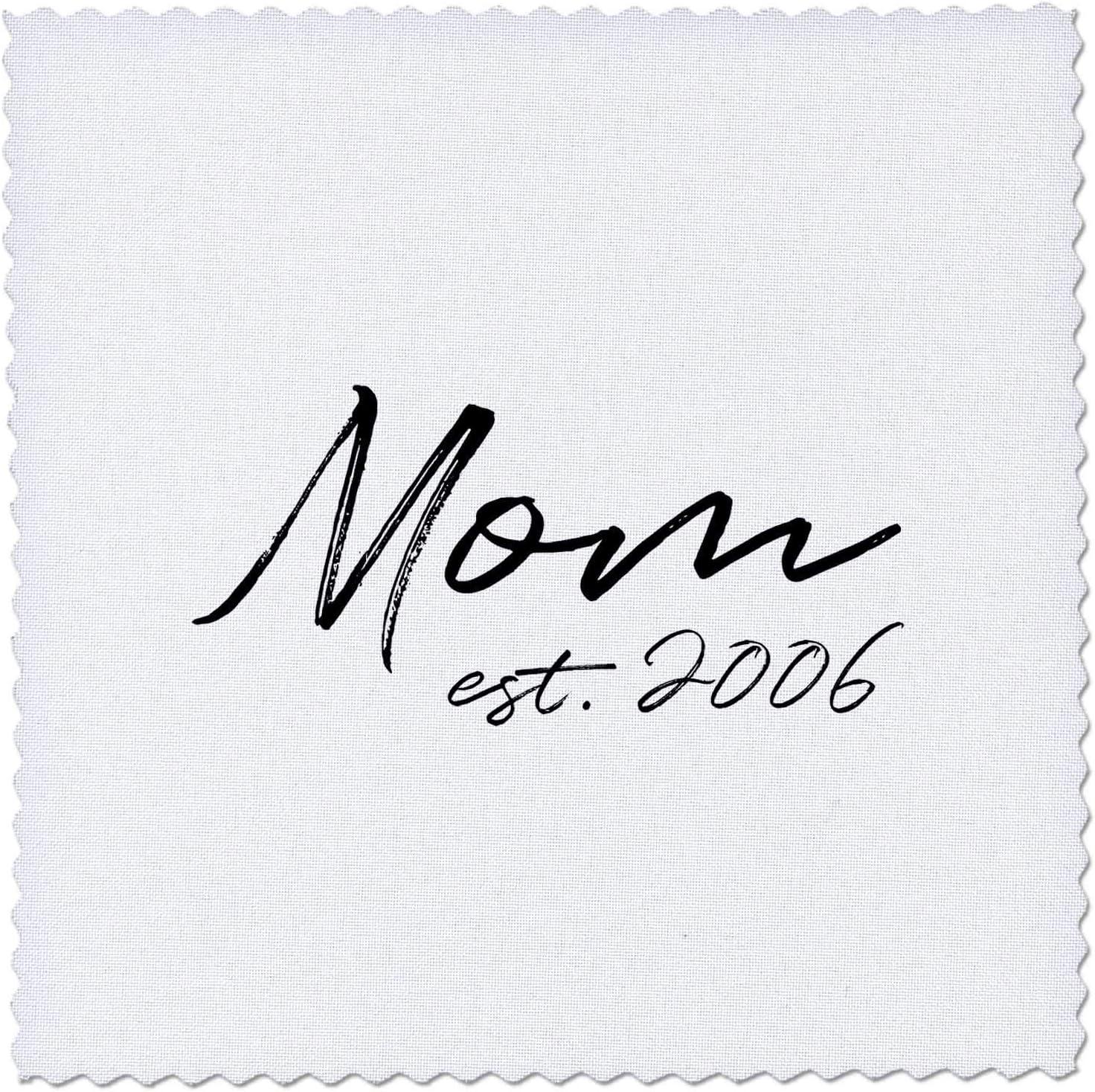 Superior 3dRose Mom established 2006. Black felt lettering Ranking TOP14 white. pen on