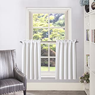 Aquazolax White Curtain Tier/Valance Rod Pocket Room Darkening Valance/Cafe Curtains, 2 Panels, 28 by 36 Inches, Greyish White