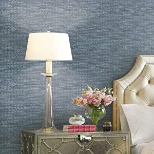 Waverly RMK11893RL Blue and Taupe Tabby Peel and Stick Wallpaper