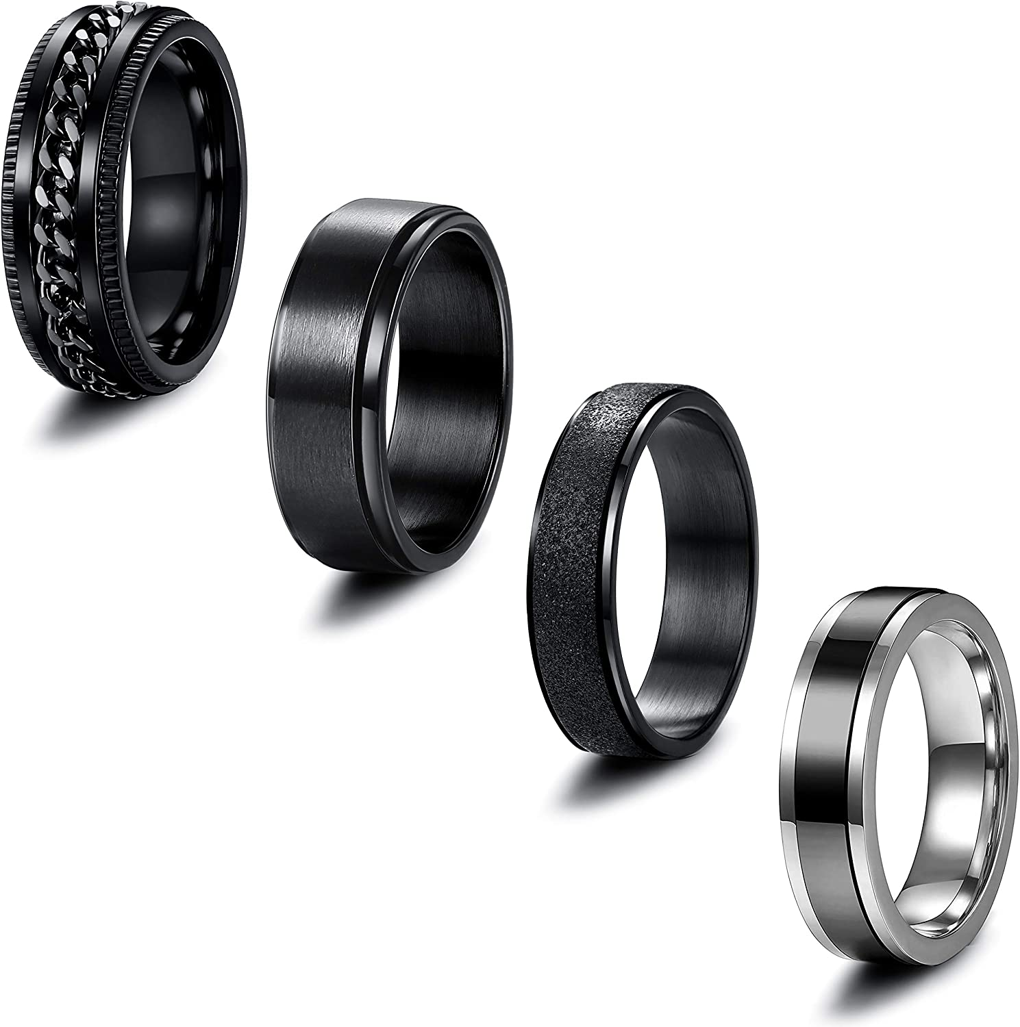 EIELO 4 Pieces Band Rings for Men Women Stainless Steel Cool Chain Inlaid Fidget Spinner Ring Black Silver Anxiety Wedding Pormise Ring Set
