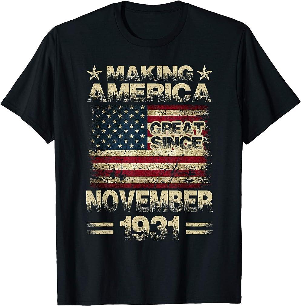 88th Birthday Gifts America November 1931 88 Year Old T-shirt