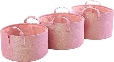 Urban Shop Glitter Storage Bin, Set of 3, Blush