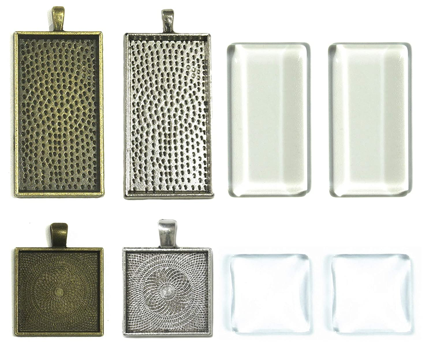 ALL in ONE Mixed Styles Cabochon Set: 20pcs Cabochon Frame Tray Pendant with 20pcs Glass Dome for DIY Jewelry Making Jewelry Making DIY Findings (Rectangle + Square - 20 Sets)