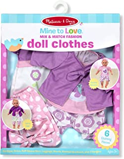 """Melissa & Doug Mine to Love Mix & Match Fashion Doll Clothes for 12""""-18"""" Dolls (6 Pieces, Great Gift for Girls and Boys - Best for 3, 4, 5 Year Olds and Up)"""