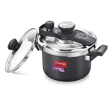 Prestige Svachh Clip-on Mini Hard Anodized 3 Litre Pressure Cooker, black