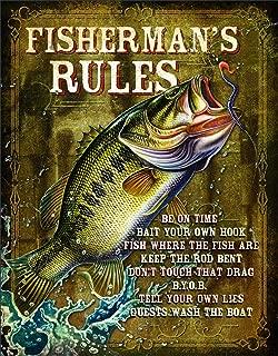 Desperate Enterprises Fisherman's Rules Tin Sign, 12.5