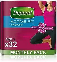 Depend Active Fit–Pañales para adultos para mujer, máxima absorción (el embalaje puede variar),tamaño mediano, 8bragas