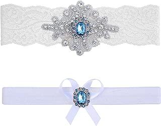Wedding Garter Belt Blue Ivory White Lace Bridal Set