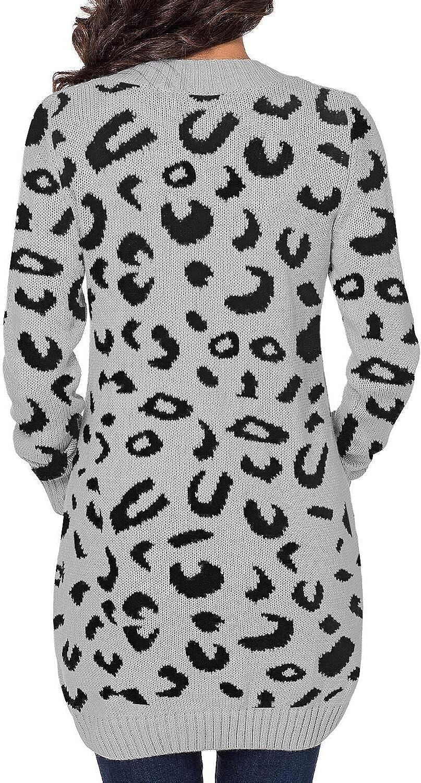 LookbookStore Women Open Front Knit Cardigan Leopard Print Button Down Sweater Coat