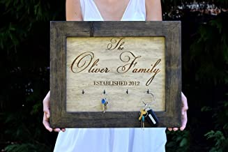 Wall Key Hanger - Key Holder - Family Established Sign - Personalized Gift - Wall Key Rack - Family Name Sign - Wedding Shower Gift - Decor