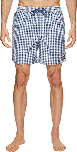 Vineyard Vines - Flag Whale Embroidered Gingham Chappy Swim Trunk