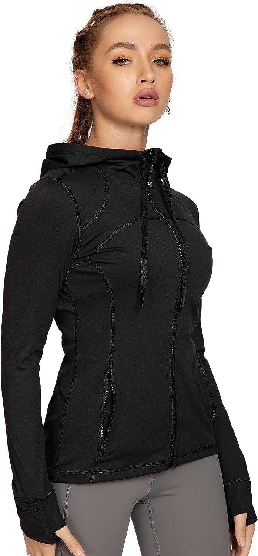QUEENIEKE Women Running Jacket Hooded Jacket Full Zip Slim Fit Yoga Track Jacket 20203