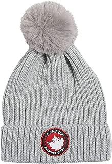CANADA WEATHER GEAR Women's Winter Knit Ribbed Beanie Hat with Fur Pom Pom