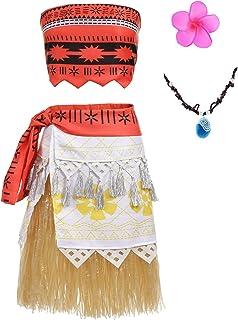 Aibeiboutique Moana Dress Little Girls Adventure Clothes Grass Dress for Girls and Adult